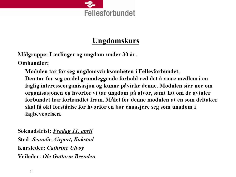 14 Ungdomskurs Målgruppe: Lærlinger og ungdom under 30 år.