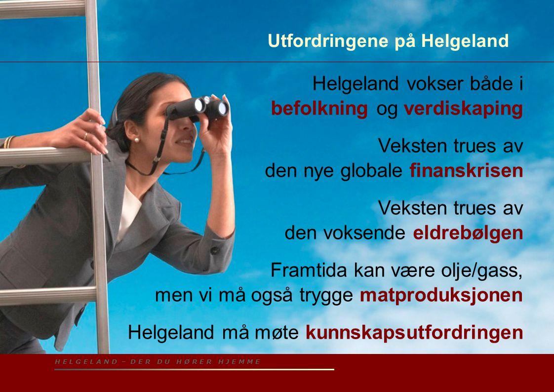 H E L G E L A N D – D E R D U H Ø R E R H J E M M E Utfordringene på Helgeland Helgeland vokser både i befolkning og verdiskaping Veksten trues av den