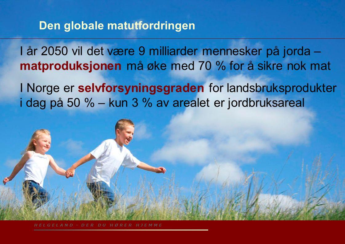 H E L G E L A N D – D E R D U H Ø R E R H J E M M E Den globale matutfordringen I år 2050 vil det være 9 milliarder mennesker på jorda – matproduksjon