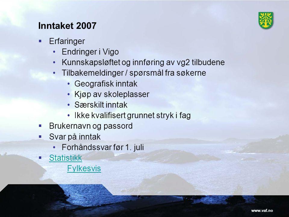 www.vaf.no Inntaket 2007  Erfaringer •Endringer i Vigo •Kunnskapsløftet og innføring av vg2 tilbudene •Tilbakemeldinger / spørsmål fra søkerne •Geogr