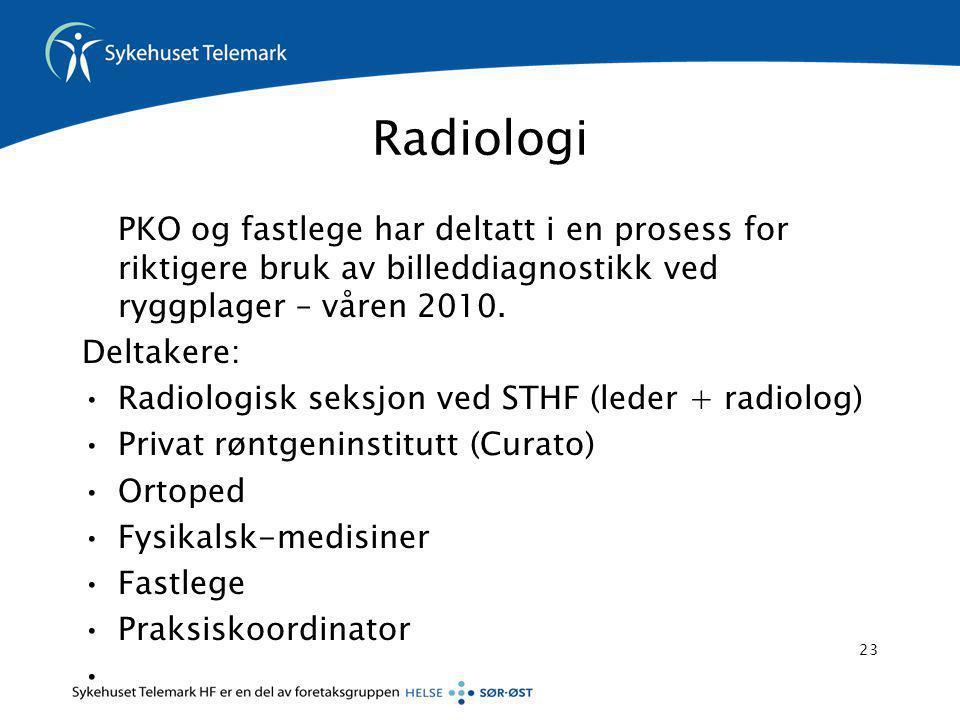 Radiologi PKO og fastlege har deltatt i en prosess for riktigere bruk av billeddiagnostikk ved ryggplager – våren 2010.