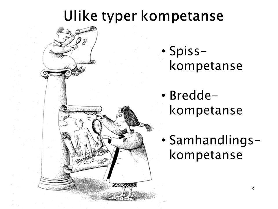 • Spiss- kompetanse • Bredde- kompetanse • Samhandlings- kompetanse Ulike typer kompetanse 3