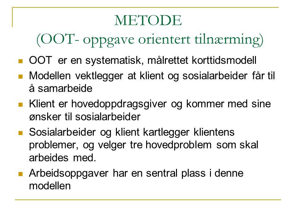 METODE (OOT- oppgave orientert tilnærming)  OOT er en systematisk, målrettet korttidsmodell  Modellen vektlegger at klient og sosialarbeider får til