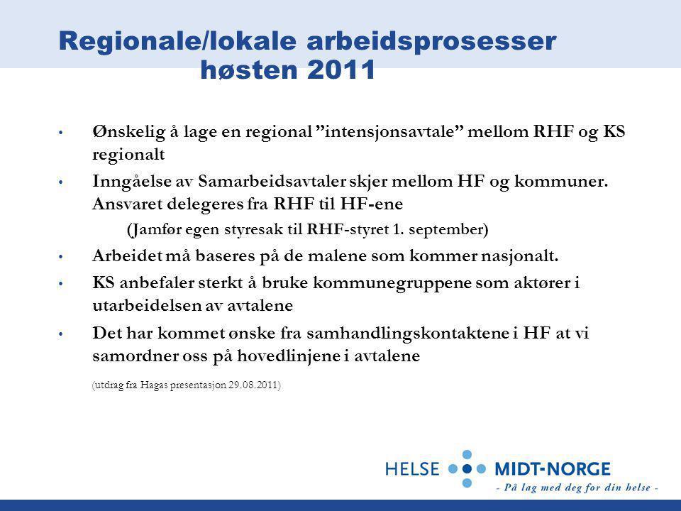 Regionale/lokale arbeidsprosesser høsten 2011 • Ønskelig å lage en regional intensjonsavtale mellom RHF og KS regionalt • Inngåelse av Samarbeidsavtaler skjer mellom HF og kommuner.