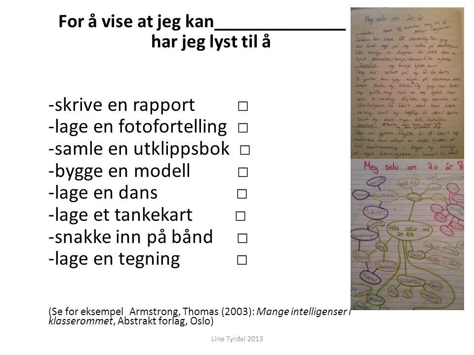 For å vise at jeg kan______________ har jeg lyst til å -skrive en rapport □ -lage en fotofortelling □ -samle en utklippsbok □ -bygge en modell □ -lage