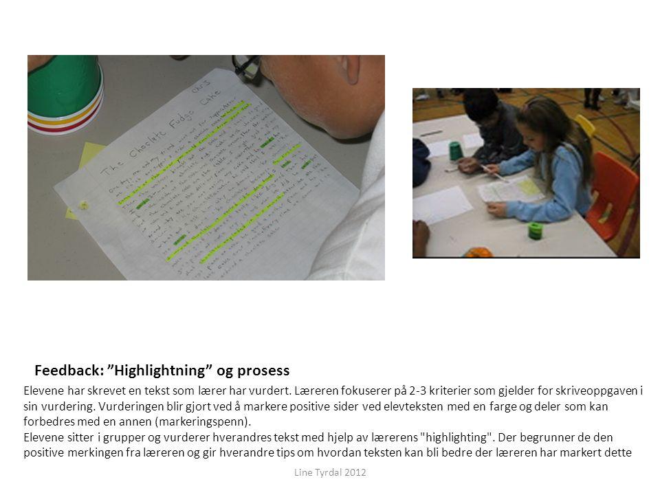 """Feedback: """"Highlightning"""" og prosess Elevene har skrevet en tekst som lærer har vurdert. Læreren fokuserer på 2-3 kriterier som gjelder for skriveoppg"""