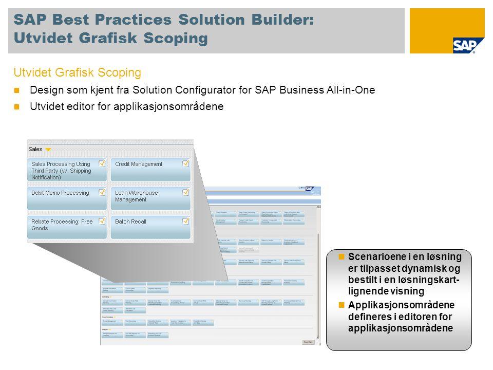 SAP Best Practices Solution Builder: Utvidet Grafisk Scoping Utvidet Grafisk Scoping  Design som kjent fra Solution Configurator for SAP Business All-in-One  Utvidet editor for applikasjonsområdene  Scenarioene i en løsning er tilpasset dynamisk og bestilt i en løsningskart- lignende visning  Applikasjonsområdene defineres i editoren for applikasjonsområdene