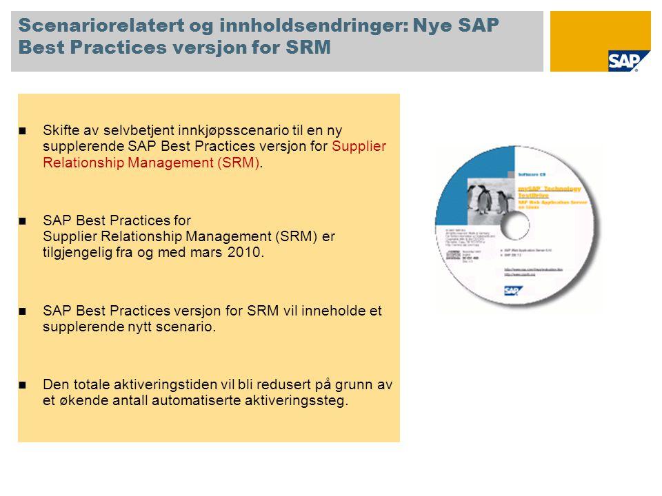 Scenariorelatert og innholdsendringer: Nye SAP Best Practices versjon for SRM  Skifte av selvbetjent innkjøpsscenario til en ny supplerende SAP Best Practices versjon for Supplier Relationship Management (SRM).