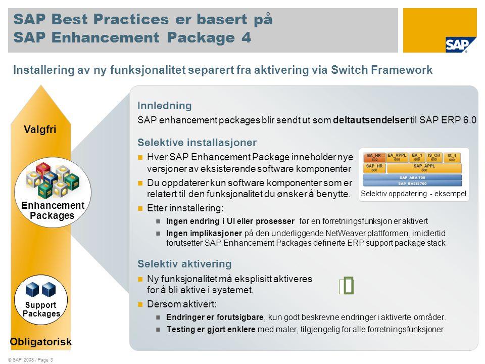 © SAP 2008 / Page 3 SAP Best Practices er basert på SAP Enhancement Package 4 Innledning SAP enhancement packages blir sendt ut som deltautsendelser til SAP ERP 6.0 Selektive installasjoner  Hver SAP Enhancement Package inneholder nye versjoner av eksisterende software komponenter  Du oppdaterer kun software komponenter som er relatert til den funksjonalitet du ønsker å benytte.
