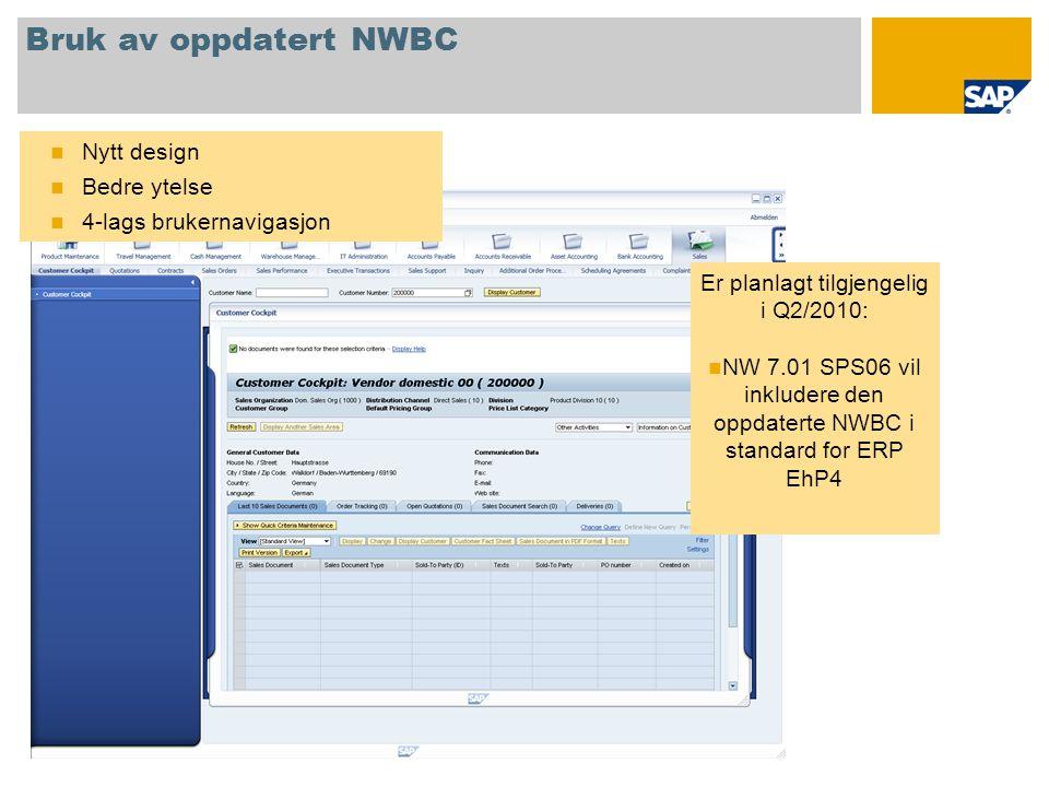 Bruk av oppdatert NWBC  Nytt design  Bedre ytelse  4-lags brukernavigasjon Er planlagt tilgjengelig i Q2/2010:  NW 7.01 SPS06 vil inkludere den oppdaterte NWBC i standard for ERP EhP4