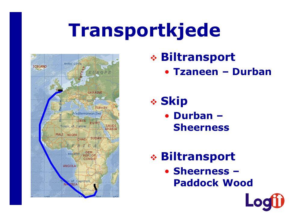Transportkjede  Biltransport •Tzaneen – Durban  Skip •Durban – Sheerness  Biltransport •Sheerness – Paddock Wood