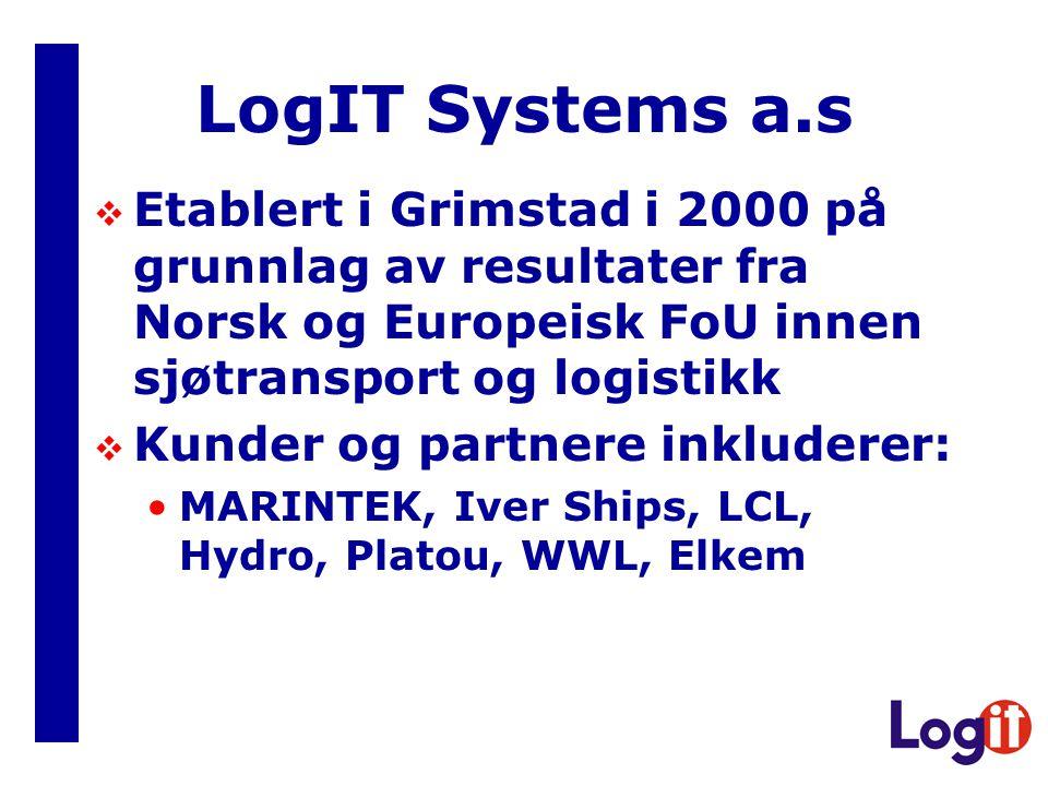 LogIT Systems a.s  Etablert i Grimstad i 2000 på grunnlag av resultater fra Norsk og Europeisk FoU innen sjøtransport og logistikk  Kunder og partnere inkluderer: •MARINTEK, Iver Ships, LCL, Hydro, Platou, WWL, Elkem