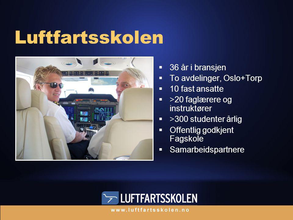  36 år i bransjen  To avdelinger, Oslo+Torp  10 fast ansatte  >20 faglærere og instruktører  >300 studenter årlig  Offentlig godkjent Fagskole  Samarbeidspartnere Luftfartsskolen