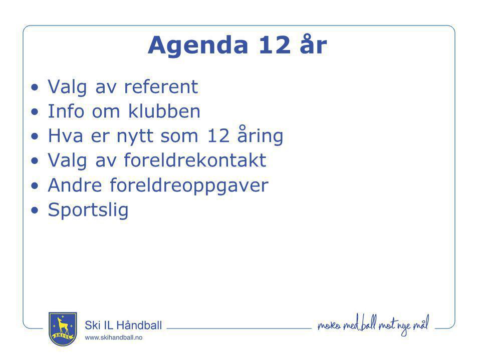 Agenda 12 år •Valg av referent •Info om klubben •Hva er nytt som 12 åring •Valg av foreldrekontakt •Andre foreldreoppgaver •Sportslig