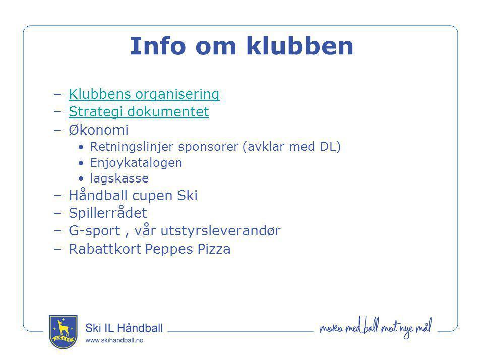 Info om klubben –Klubbens organiseringKlubbens organisering –Strategi dokumentetStrategi dokumentet –Økonomi •Retningslinjer sponsorer (avklar med DL)