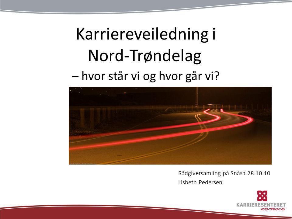 Karriereveiledning i Nord-Trøndelag – hvor står vi og hvor går vi? Rådgiversamling på Snåsa 28.10.10 Lisbeth Pedersen