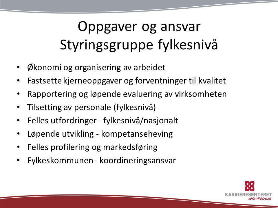Oppgaver og ansvar Styringsgruppe fylkesnivå • Økonomi og organisering av arbeidet • Fastsette kjerneoppgaver og forventninger til kvalitet • Rapporte
