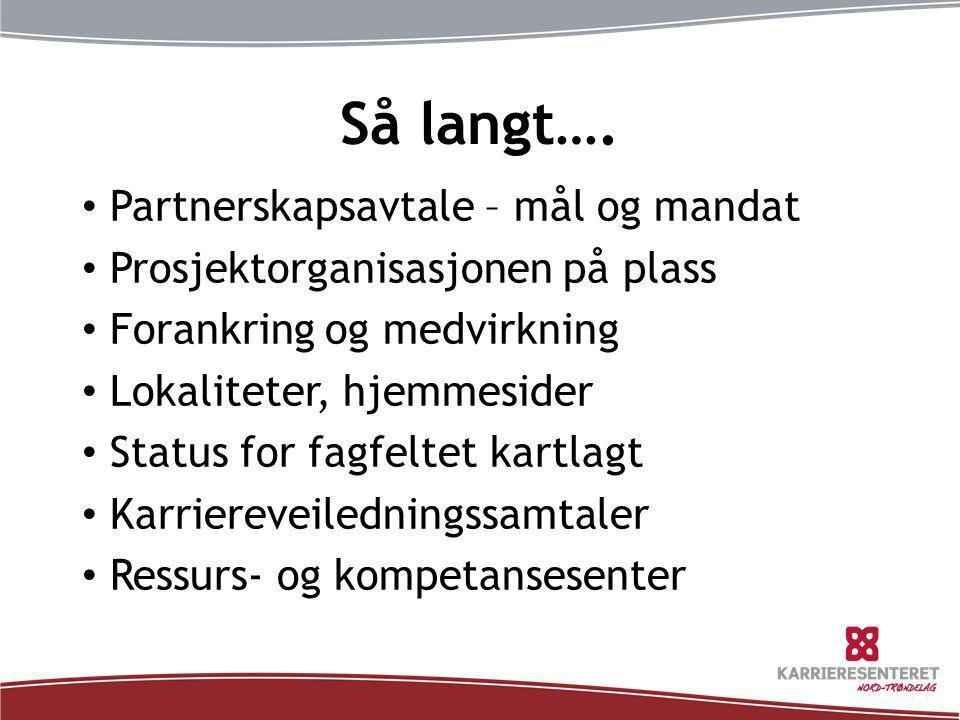 Så langt…. • Partnerskapsavtale – mål og mandat • Prosjektorganisasjonen på plass • Forankring og medvirkning • Lokaliteter, hjemmesider • Status for