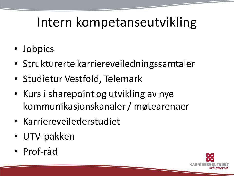 Intern kompetanseutvikling • Jobpics • Strukturerte karriereveiledningssamtaler • Studietur Vestfold, Telemark • Kurs i sharepoint og utvikling av nye