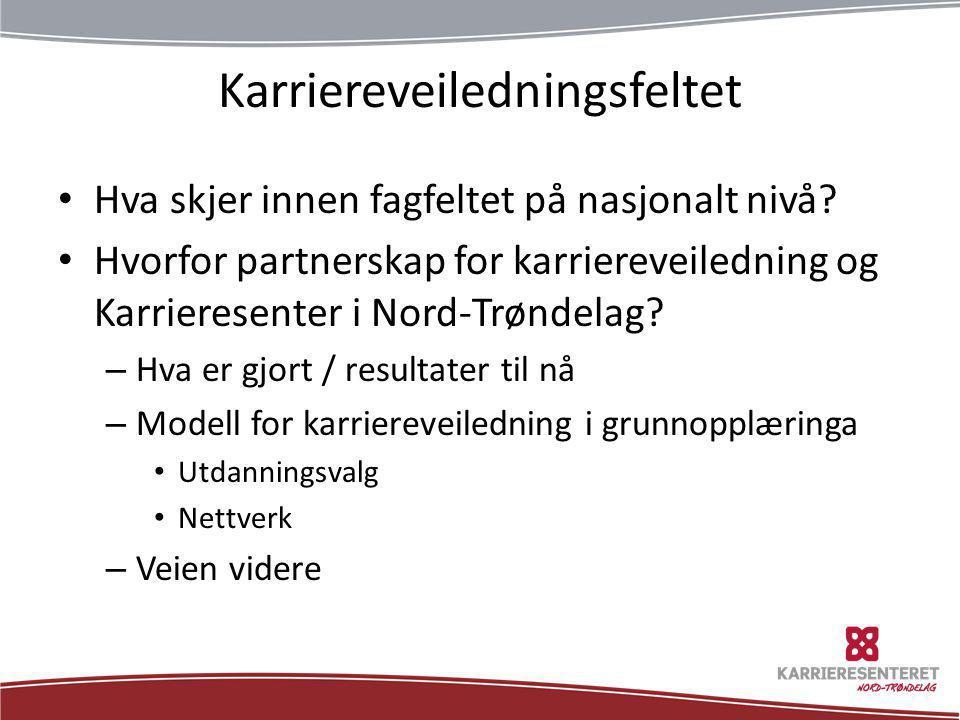 Karriereveiledningsfeltet • Hva skjer innen fagfeltet på nasjonalt nivå? • Hvorfor partnerskap for karriereveiledning og Karrieresenter i Nord-Trøndel