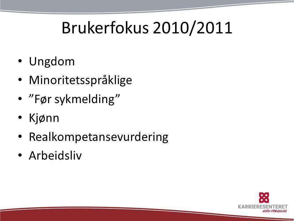 """Brukerfokus 2010/2011 • Ungdom • Minoritetsspråklige • """"Før sykmelding"""" • Kjønn • Realkompetansevurdering • Arbeidsliv"""
