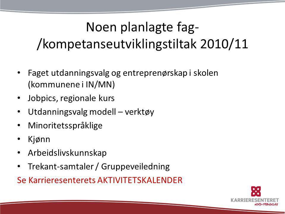 Noen planlagte fag- /kompetanseutviklingstiltak 2010/11 • Faget utdanningsvalg og entreprenørskap i skolen (kommunene i IN/MN) • Jobpics, regionale ku