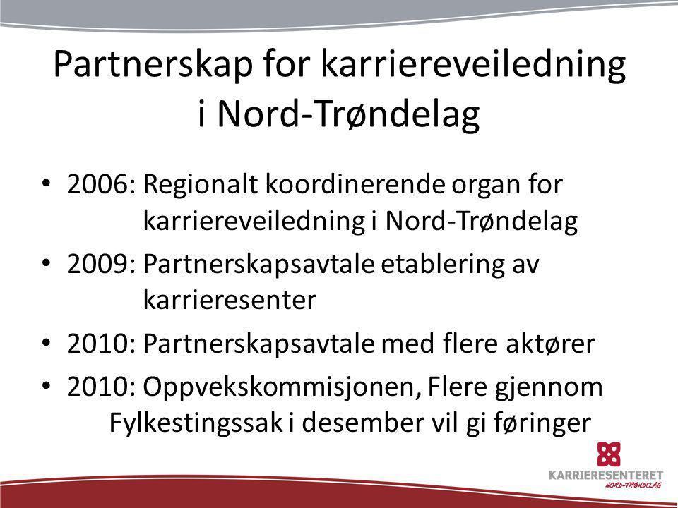 Partnerskap for karriereveiledning i Nord-Trøndelag • 2006: Regionalt koordinerende organ for karriereveiledning i Nord-Trøndelag • 2009: Partnerskaps