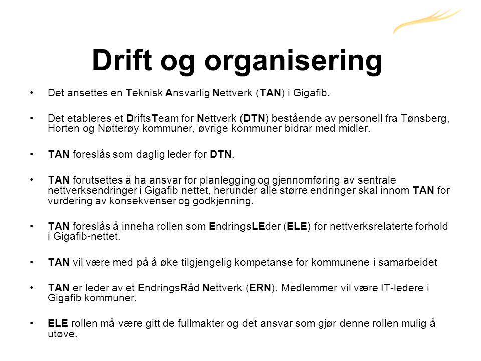 Drift og organisering •Det ansettes en Teknisk Ansvarlig Nettverk (TAN) i Gigafib.