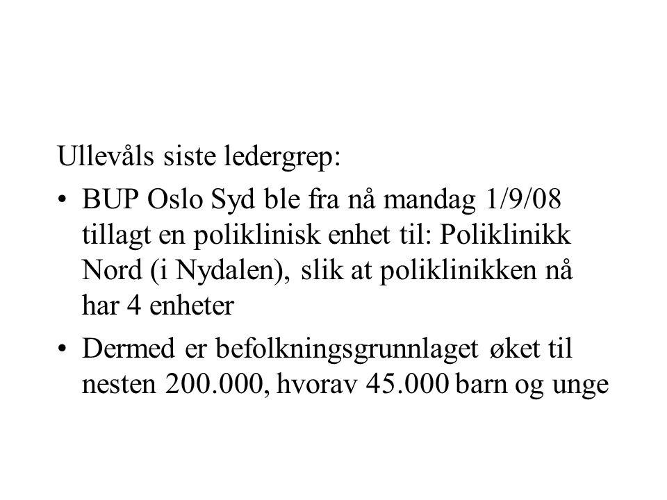 Ullevåls siste ledergrep: •BUP Oslo Syd ble fra nå mandag 1/9/08 tillagt en poliklinisk enhet til: Poliklinikk Nord (i Nydalen), slik at poliklinikken