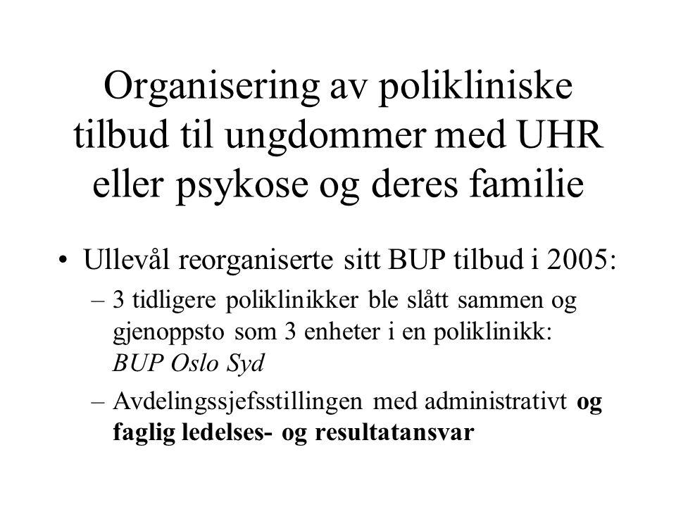 Organisering av polikliniske tilbud til ungdommer med UHR eller psykose og deres familie •Ullevål reorganiserte sitt BUP tilbud i 2005: –3 tidligere p