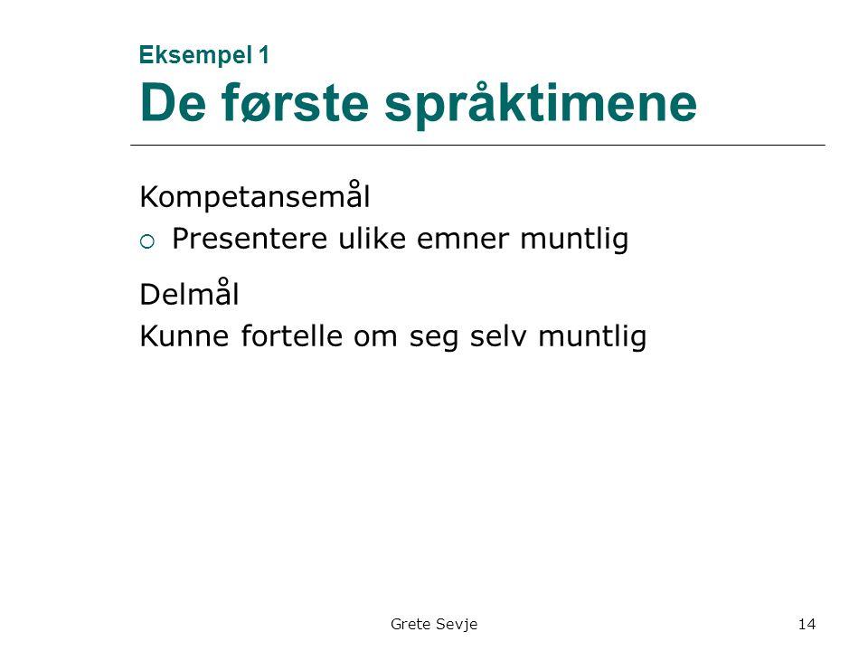 Eksempel 1 De første språktimene Kompetansemål  Presentere ulike emner muntlig Delmål Kunne fortelle om seg selv muntlig Grete Sevje14