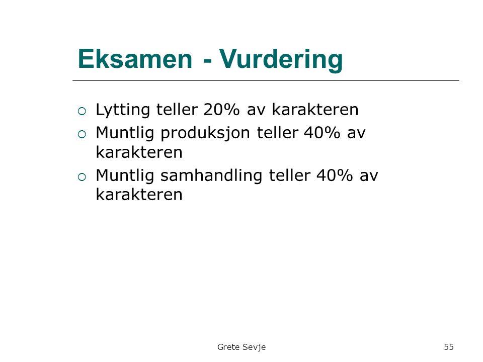 Grete Sevje Eksamen - Vurdering  Lytting teller 20% av karakteren  Muntlig produksjon teller 40% av karakteren  Muntlig samhandling teller 40% av karakteren 55