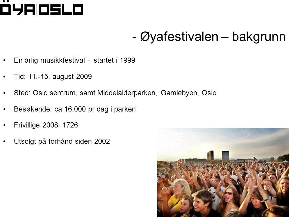 - Øyafestivalen – bakgrunn •En årlig musikkfestival - startet i 1999 •Tid: 11.-15.