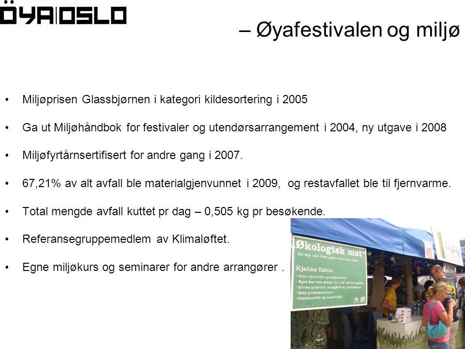 – Øyafestivalen og miljø •Miljøprisen Glassbjørnen i kategori kildesortering i 2005 •Ga ut Miljøhåndbok for festivaler og utendørsarrangement i 2004, ny utgave i 2008 •Miljøfyrtårnsertifisert for andre gang i 2007.