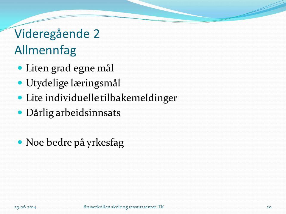 Videregående 2 Allmennfag  Liten grad egne mål  Utydelige læringsmål  Lite individuelle tilbakemeldinger  Dårlig arbeidsinnsats  Noe bedre på yrk