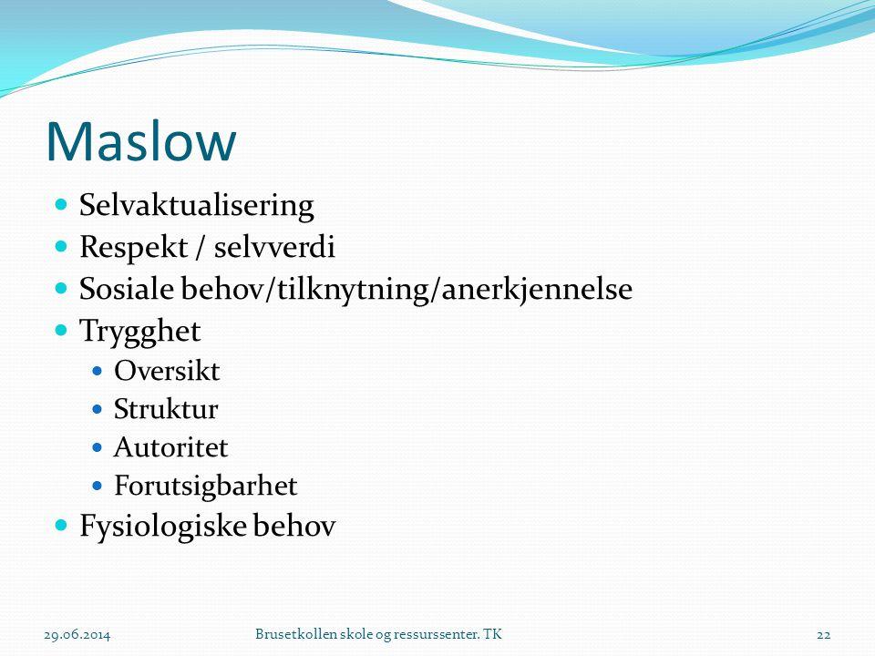 Maslow  Selvaktualisering  Respekt / selvverdi  Sosiale behov/tilknytning/anerkjennelse  Trygghet  Oversikt  Struktur  Autoritet  Forutsigbarh
