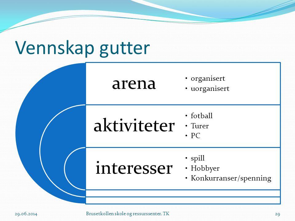 Vennskap gutter arena aktiviteter interesser •organisert •uorganisert •fotball •Turer •PC •spill •Hobbyer •Konkurranser/spenning 29.06.2014Brusetkolle