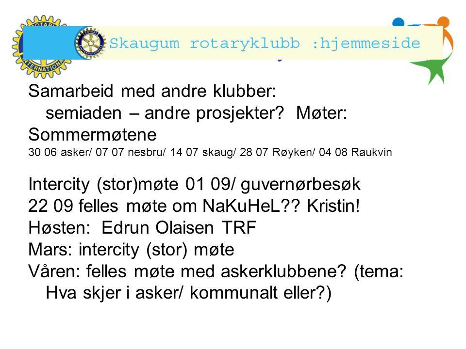 Hønefoss Rotary Klubb Samarbeid med andre klubber: semiaden – andre prosjekter? Møter: Sommermøtene 30 06 asker/ 07 07 nesbru/ 14 07 skaug/ 28 07 Røyk