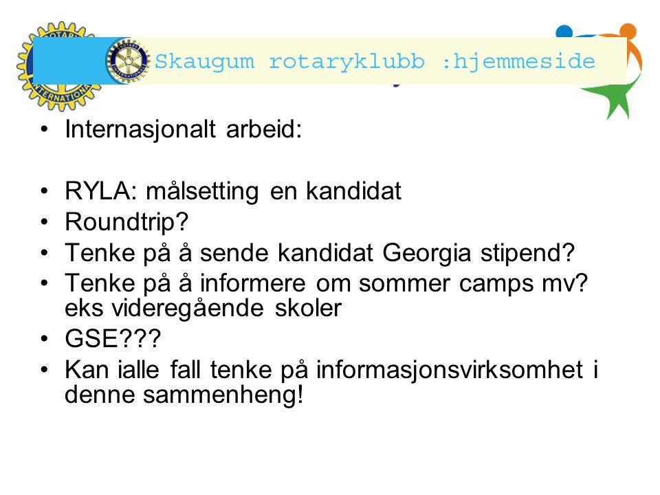 Hønefoss Rotary Klubb •Internasjonalt arbeid: •RYLA: målsetting en kandidat •Roundtrip? •Tenke på å sende kandidat Georgia stipend? •Tenke på å inform