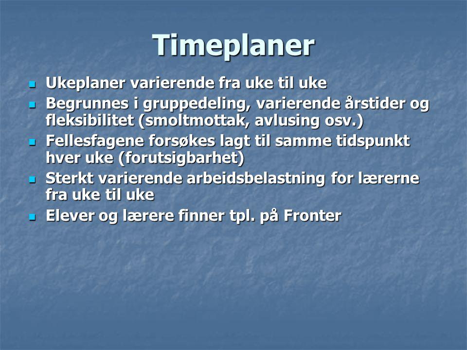 Timeplaner  Ukeplaner varierende fra uke til uke  Begrunnes i gruppedeling, varierende årstider og fleksibilitet (smoltmottak, avlusing osv.)  Fell