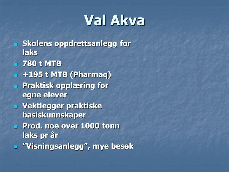 Val Akva  Skolens oppdrettsanlegg for laks  780 t MTB  +195 t MTB (Pharmaq)  Praktisk opplæring for egne elever  Vektlegger praktiske basiskunnskaper  Prod.
