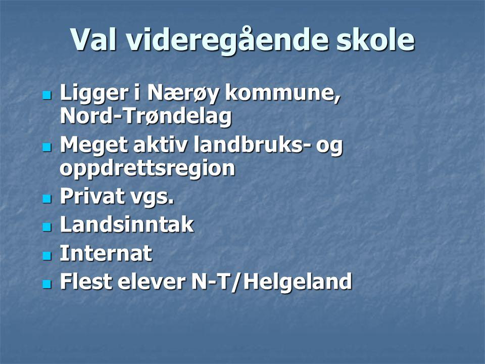 Val videregående skole  Ligger i Nærøy kommune, Nord-Trøndelag  Meget aktiv landbruks- og oppdrettsregion  Privat vgs.  Landsinntak  Internat  F