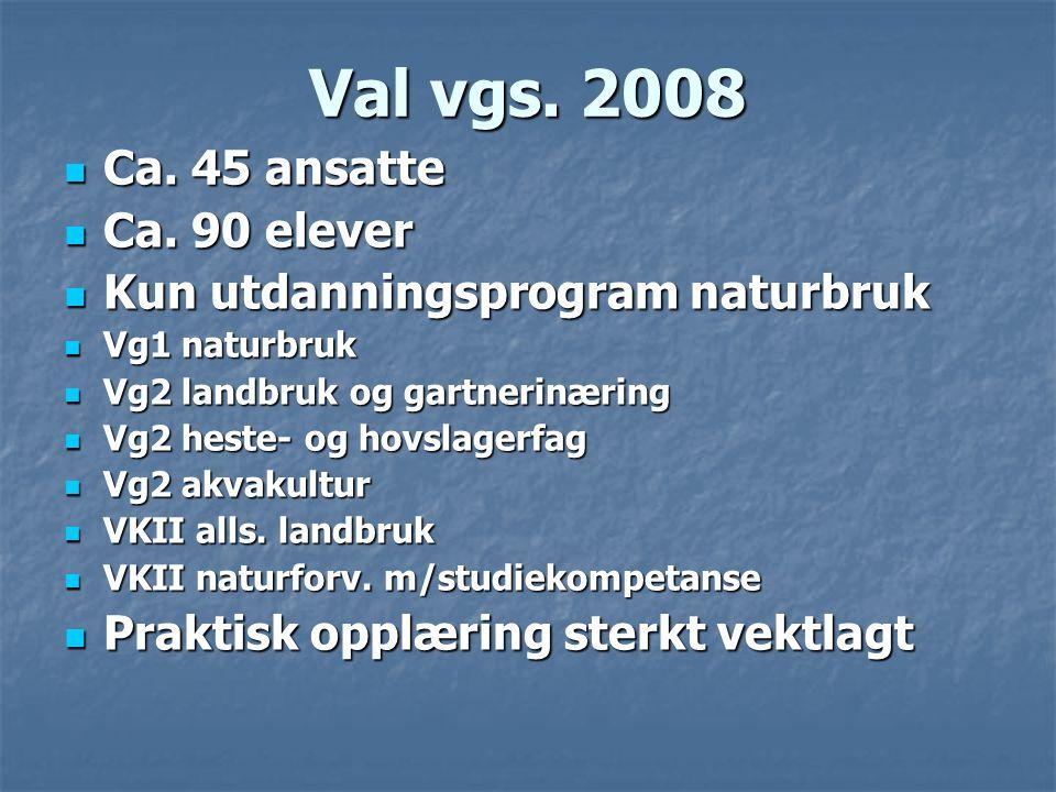 Val vgs. 2008  Ca. 45 ansatte  Ca. 90 elever  Kun utdanningsprogram naturbruk  Vg1 naturbruk  Vg2 landbruk og gartnerinæring  Vg2 heste- og hovs