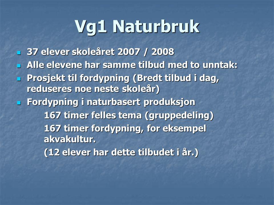 Vg1 Naturbruk  37 elever skoleåret 2007 / 2008  Alle elevene har samme tilbud med to unntak:  Prosjekt til fordypning (Bredt tilbud i dag, redusere