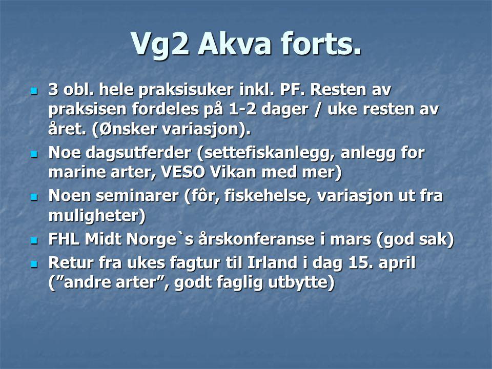 Vg2 Akva forts.  3 obl. hele praksisuker inkl. PF. Resten av praksisen fordeles på 1-2 dager / uke resten av året. (Ønsker variasjon).  Noe dagsutfe