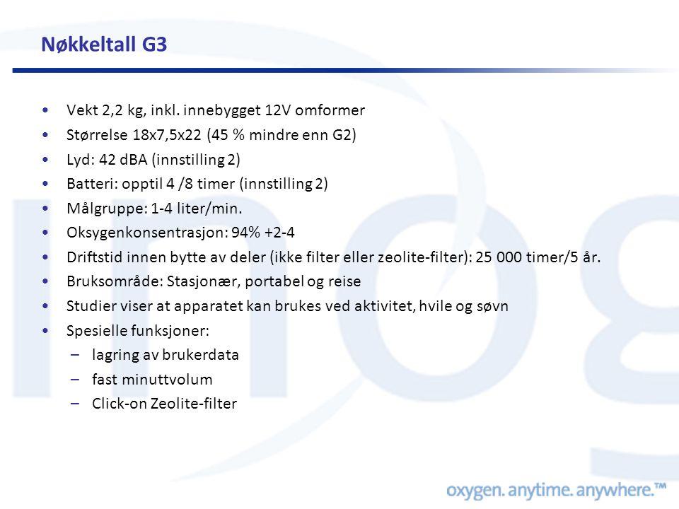 Nøkkeltall G3 •Vekt 2,2 kg, inkl. innebygget 12V omformer •Størrelse 18x7,5x22 (45 % mindre enn G2) •Lyd: 42 dBA (innstilling 2) •Batteri: opptil 4 /8
