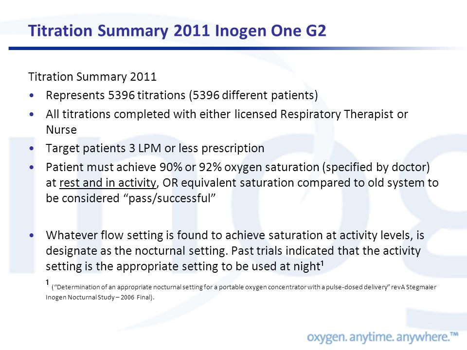 Titration Summary 2011 Inogen One G2 Titration Summary 2011 •Represents 5396 titrations (5396 different patients) •All titrations completed with either licensed Respiratory Therapist or Nurse •Target patients 3 LPM or less prescription •Patient must achieve 90% or 92% oxygen saturation (specified by doctor) at rest and in activity, OR equivalent saturation compared to old system to be considered pass/successful •Whatever flow setting is found to achieve saturation at activity levels, is designate as the nocturnal setting.