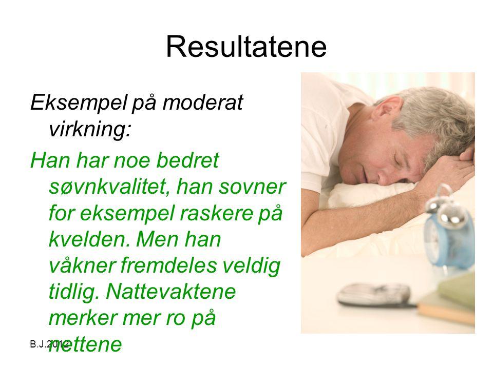 B.J.2012 Resultatene Eksempel på moderat virkning: Han har noe bedret søvnkvalitet, han sovner for eksempel raskere på kvelden.