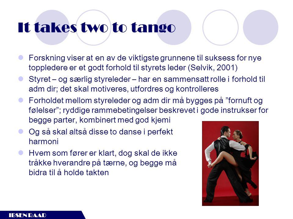 IBSEN RAAD It takes two to tango  Forskning viser at en av de viktigste grunnene til suksess for nye toppledere er et godt forhold til styrets leder