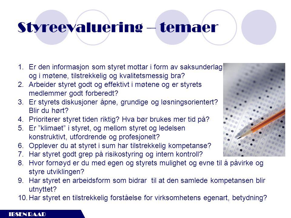 IBSEN RAAD Styreevaluering – temaer 1.Er den informasjon som styret mottar i form av saksunderlag, og i møtene, tilstrekkelig og kvalitetsmessig bra?